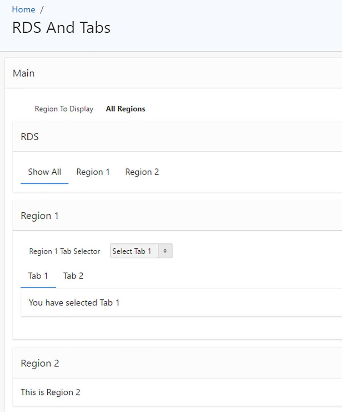 Dynamic Selection of Tabs and Region Display Selectors in