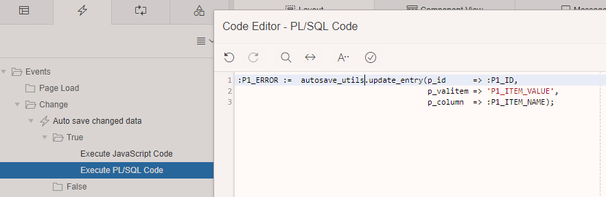 Add a true PL-SQL action to the event